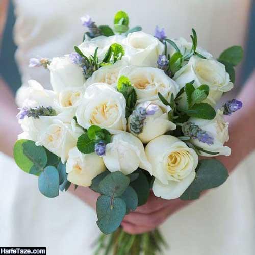 دسته گل عروس با تناژ سفید و سبز، شیک و جدید