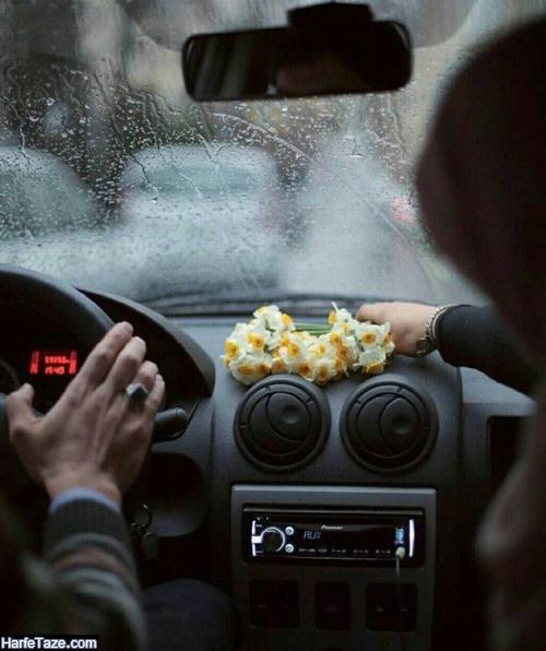 عکس دسته گلهای نرگس در ماشین