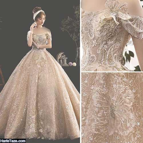 پیرهن عروس پف دار سلطنتی براق و گران قیمت