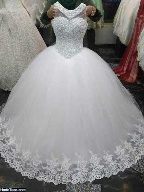 مدل لباس کار شده با ال ای دی عروس 2020