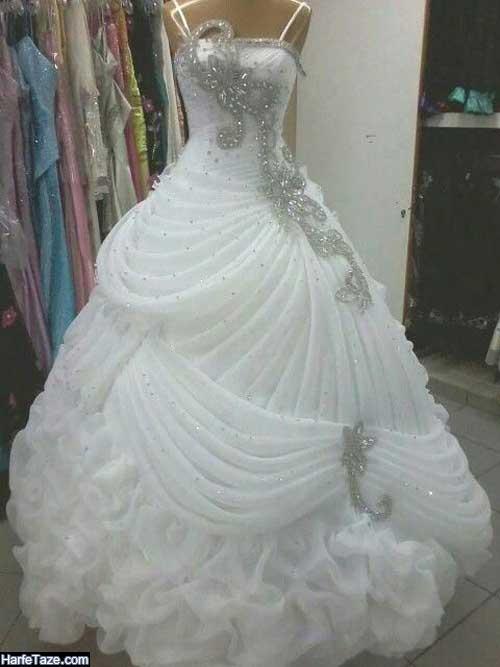 عکس از مدل پیراهن پرنسسی عروس براق