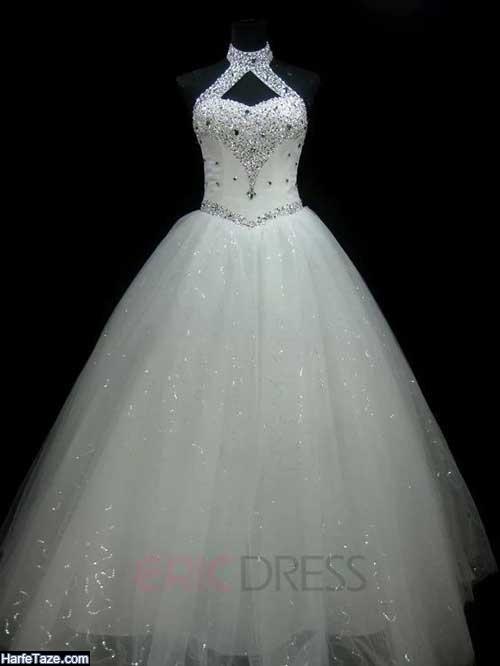 عکس از مدل پیراهن عروس شنی دکلته