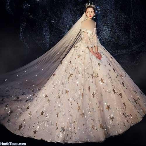 مدل لباس عروس دنباله دار شاین