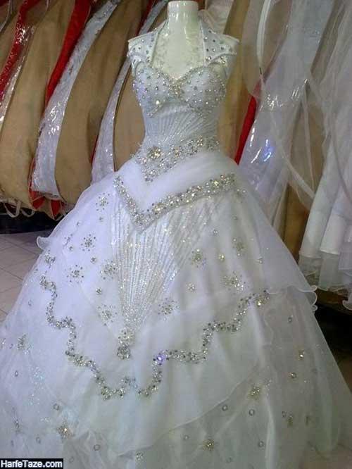 مدل پیراهن عروس شنی ساده