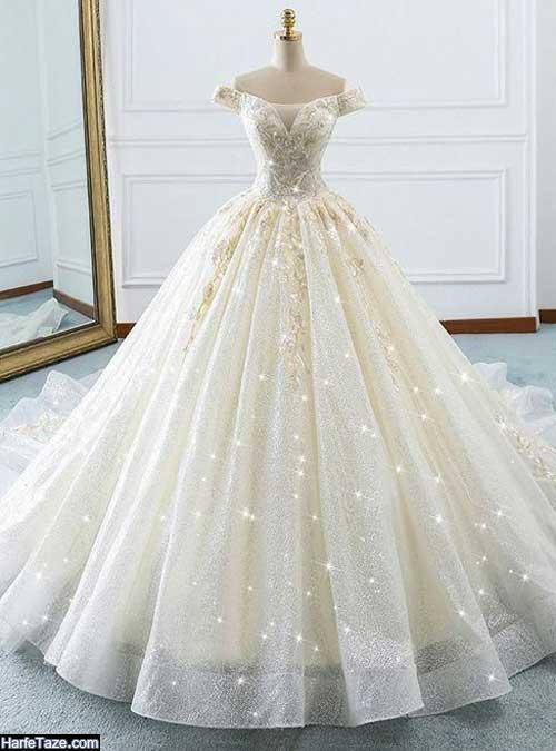 لباس عروس شاین طرح پفی دنباله دار 2020