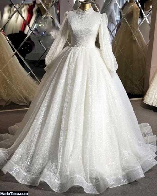 مدل جدید لباس عروس شنی با حجاب