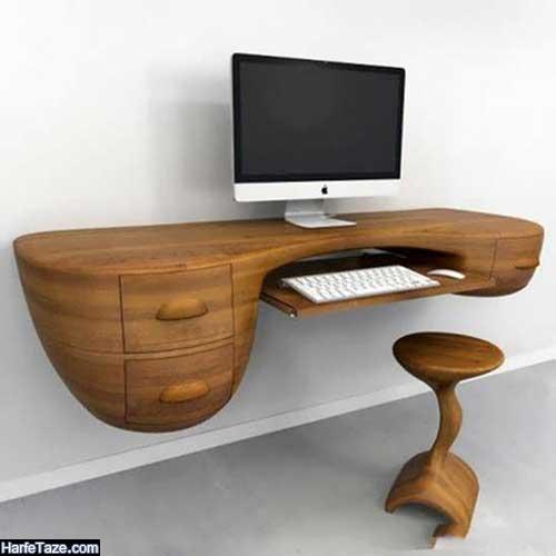 طراحی شیک مدل میز کامپیوتر دیواری