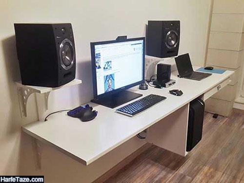 میز کامپیوتر زیبا و جادار برای خانه های کوچک