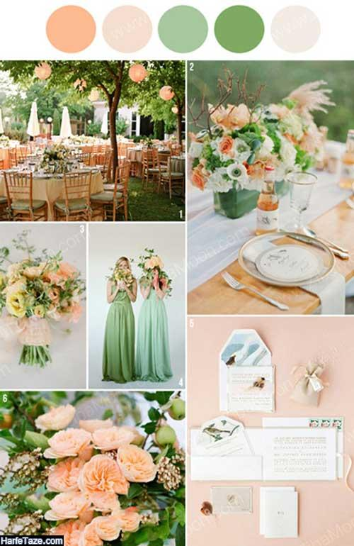 تم مراسم ازدواج تابستانی با ترکیب رنگ هلویی و سبز