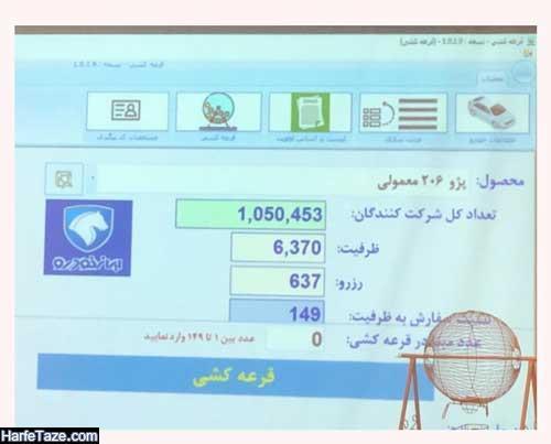 اسامی برندگان فروش محصولات ایرانخودرو پژو ۲۰۶ معمولی