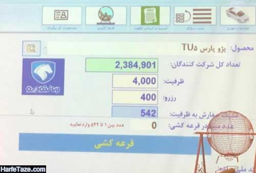 اسامی برندگان فروش محصولات ایران خودرو خودرو پژو پارس