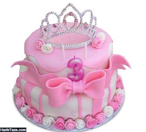 مدل لاکچری عروسکی کیک با تم تاج طلایی