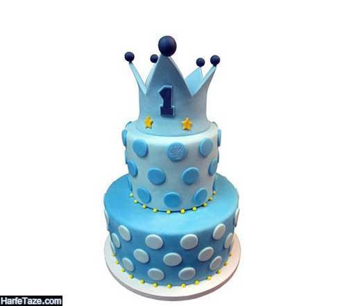 تزئین ساده و شیک کیک با تم تاج برای پسر نوجوان و پسر بچه ها