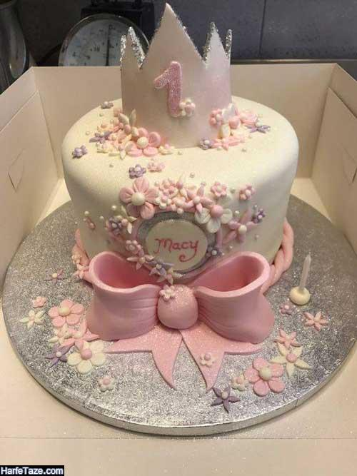 جدیدترین مدل کیک تولد تاج دار 99 دخترانه