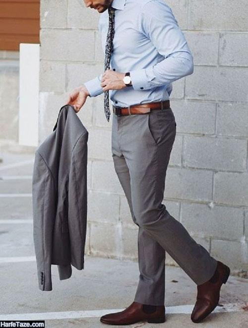 ست پیراهن و شلوار طوسی مردانه