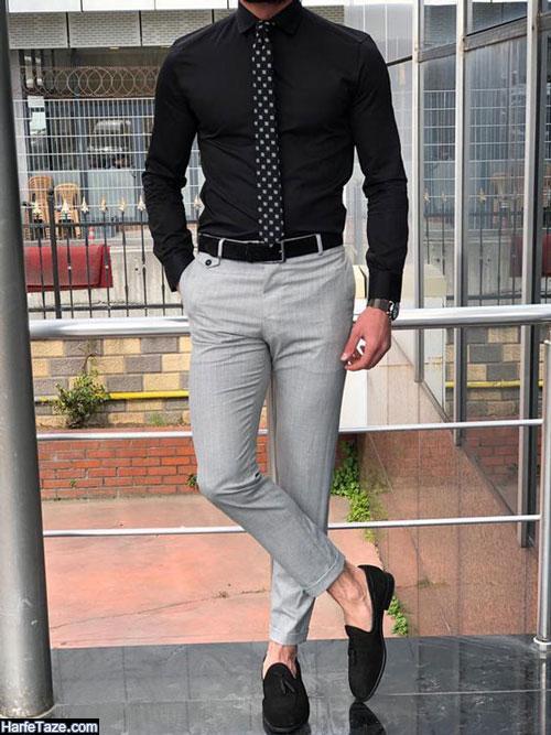 جدیدترین مدل تیپ مردانه رسمی با شلوار پارچه ای