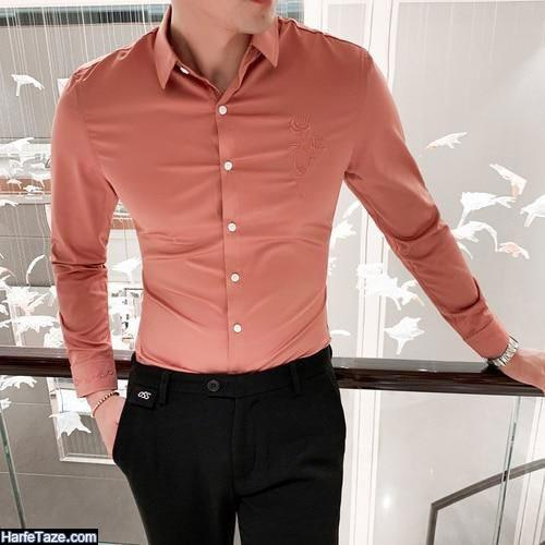 ست پیراهن زرشکی پسرانه با شلوار پارچه ای جذاب و دلبرانه