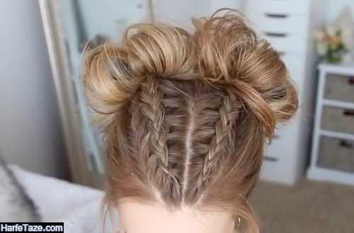 بافت جلوی مو تل شکل دو رشتهای