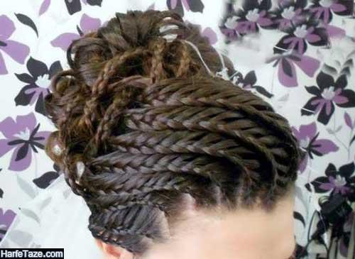 عکس از مو بافی جلوی سر دخترانه