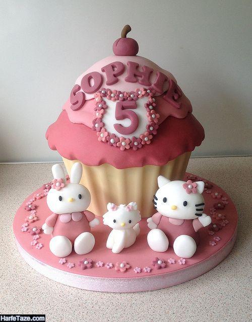 دیزاین کیک طرح کیتی و گربه برای جشن تولد