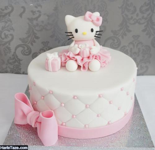 ایده تزیین کیک تولد دخترانهبا طرح گربه