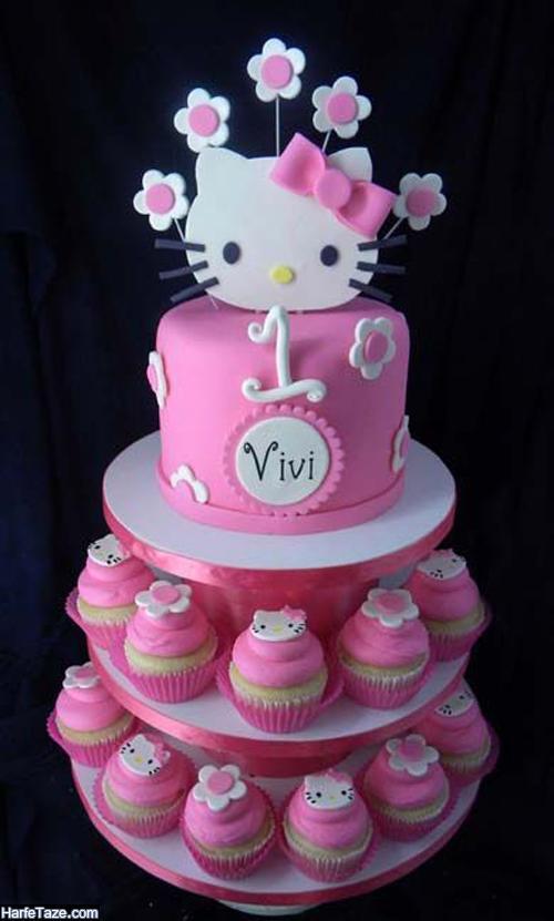 نمونه کیک تولد لاکچری و باکلاس با طرح بچه گربه