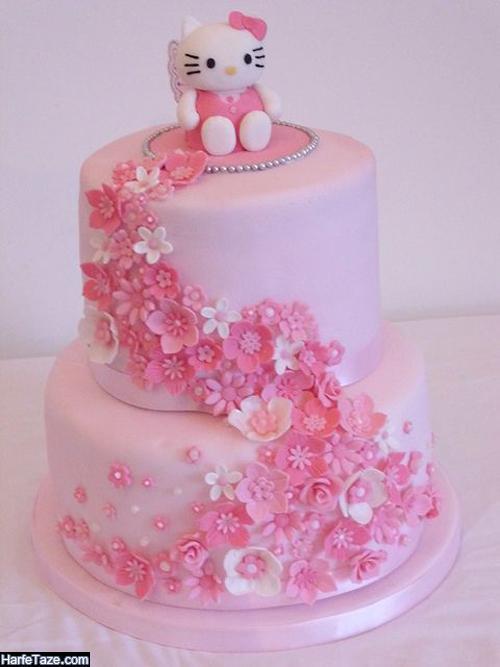 جدیدترین مدلهای کیک تولد دخترانه تزیین شده با گل به شگل گربه
