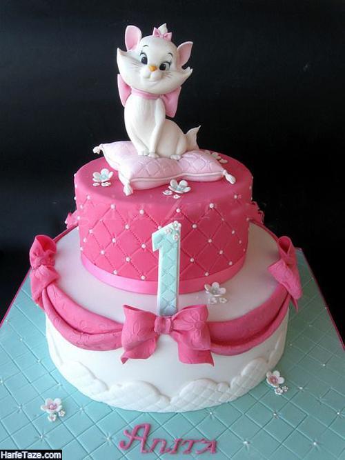 شیک ترین مدلهای کیک تولد کیتی دخترانه صورتی 99