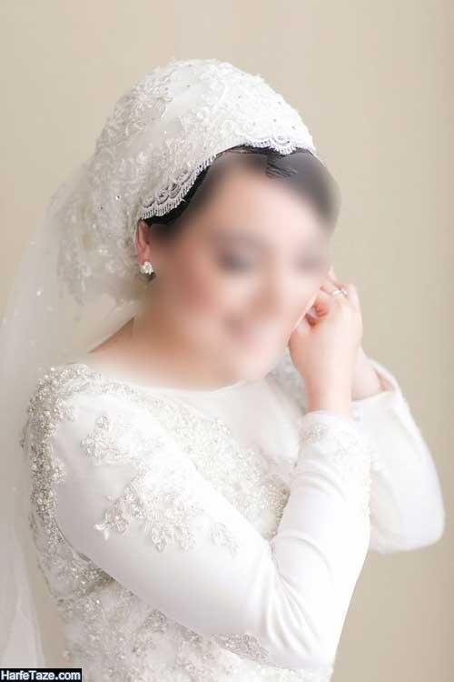 مدل کلاه حجاب عروس با طرح ساده و شیک