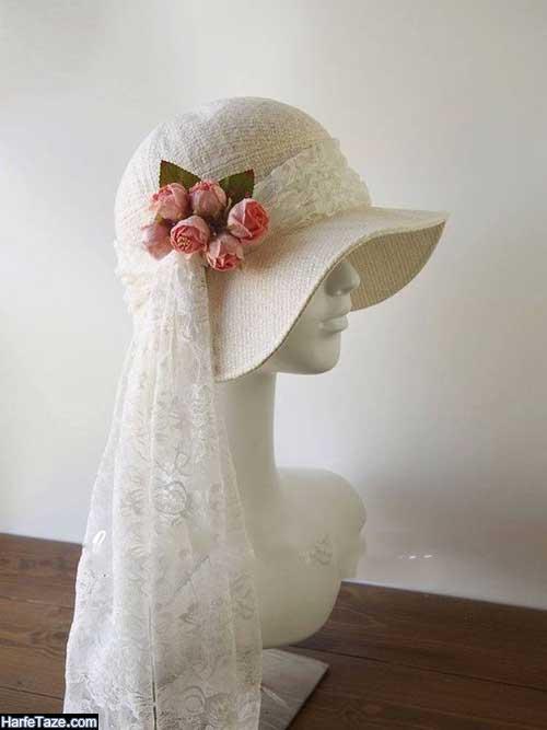 کلاه حجاب لبه دار حصیری برای عروس+عکس