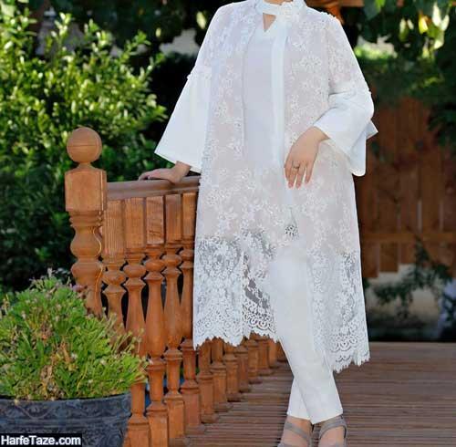 خوشگلترین مدلهای ست مانتو و شلوار سفید برای عقد و نامزدی