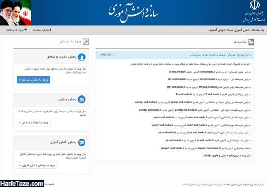 آدس اینترنتی ثبت نام دانش آموزان در سامانه سناد snd.medu.ir برای همه پایه ها