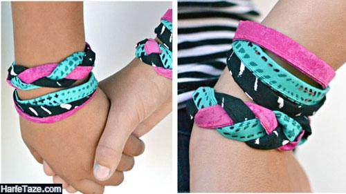 دستبند جدید بافت پارچه ای مارپیچ دخترانه