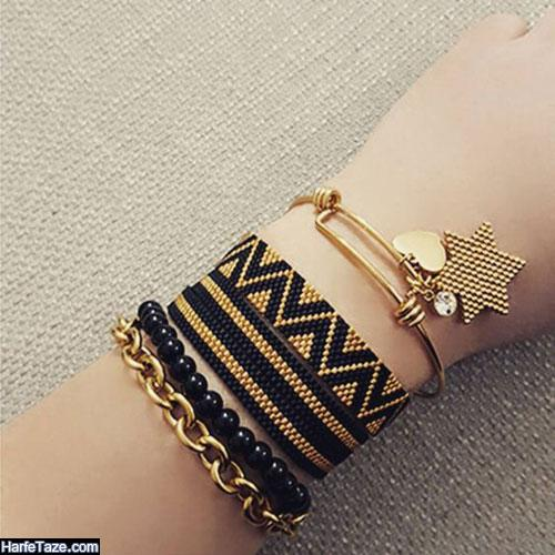 دستبند جدید بافت پهن دخترانه