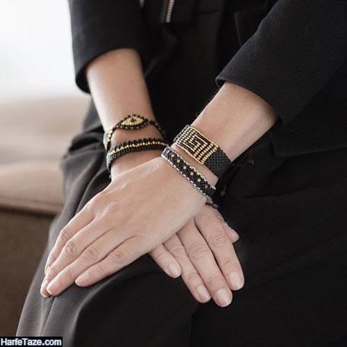 دستبند جدید بافت دخترانه مشکی