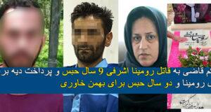 حکم قاضی به قاتل رومینا اشرفی | ۹ سال حبس و پرداخت دیه برای قاتل رومینا
