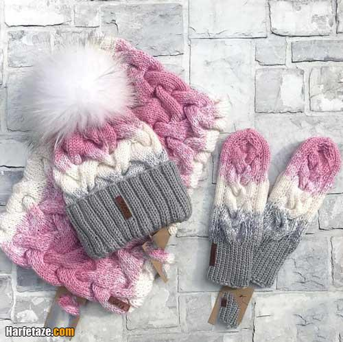 مدل ست کلاه و دستکش و شالگردن شیک دخترانه 2021