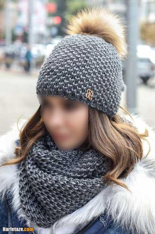 شالگردن و کلاه کاموایی با کلاه زمستانی