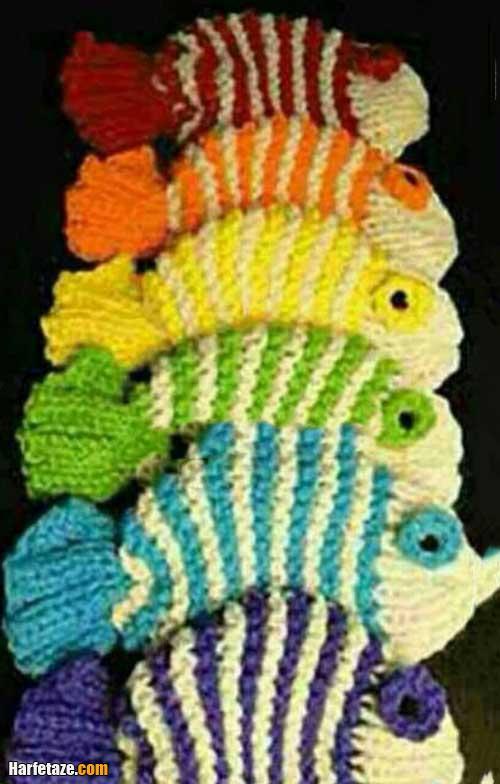 آموزش تصویری بافت لیف ماهی با دو میل