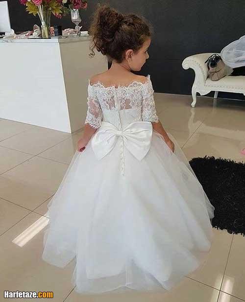 مدل لباس عروس بچه گانه آستین دار