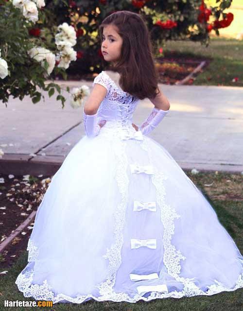 لباس عروس بچه گانه زیبا و شیک دنباله دار سفید