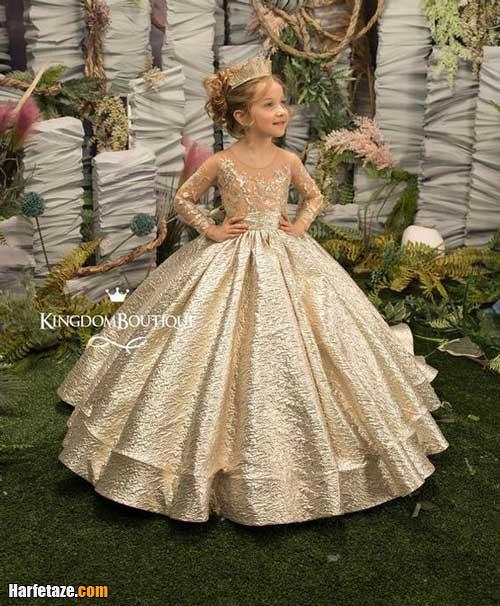 انواع ست لباس عروس جدید بچه گانه با تل و هد و کفش