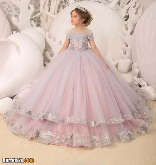 مدل لباس عروس ساده بچه گانه رنگی 1400