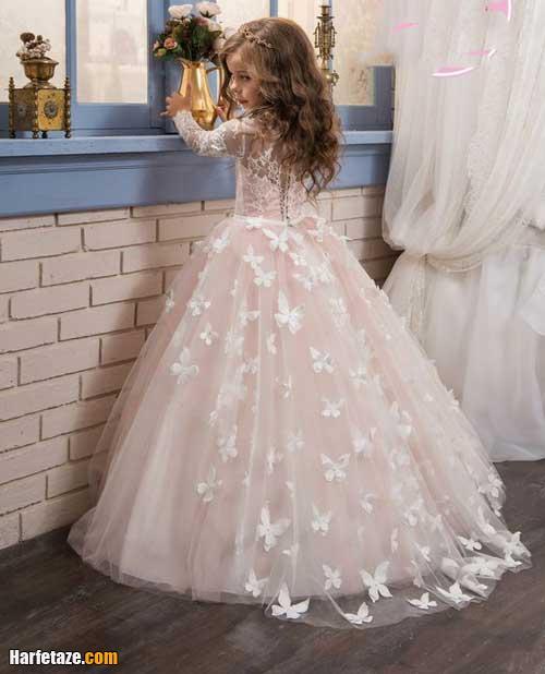 تصاویر لباس عروس بچه گانه گیپور 2021 با تور دانتل