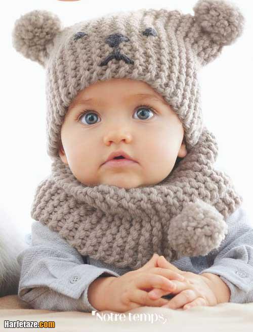 کلاه و شالردن نوزادی دخترانه زمستانی