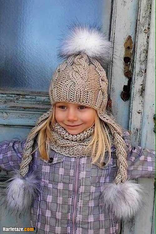 مدل شال پاپیونی و کلاه بافتنی دختربچه ها