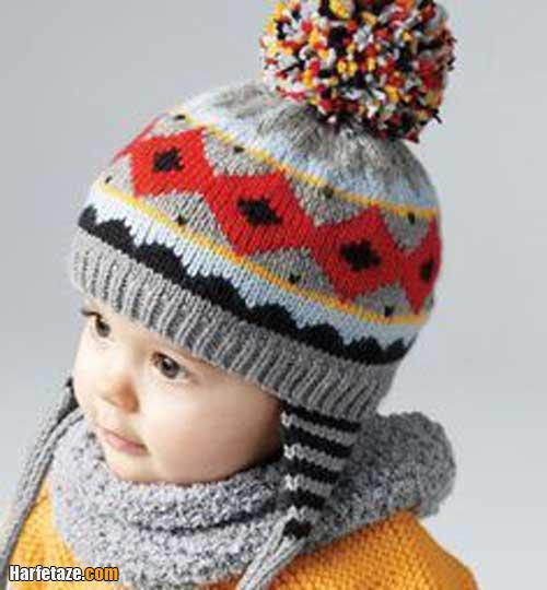 کلاه بافتنی روگوشی نوزادی 1400