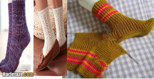 آموزش بافت جوراب زمستانی با دو میل با درز و بدون درز + تصاویر
