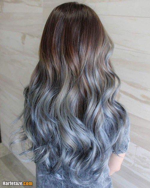 رنگ مو خاکستری با ریشه موهای آبی
