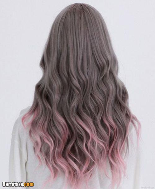 رنگ مو خاکستری روی رنگ صورتی روشن زنانه 2021